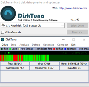 DiskTuna - The tiny unobtrusive free defrag