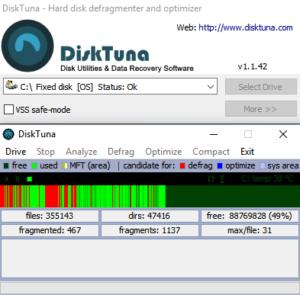 DiskTuna - The tiny unobtrusive hard disk defragmentation tool