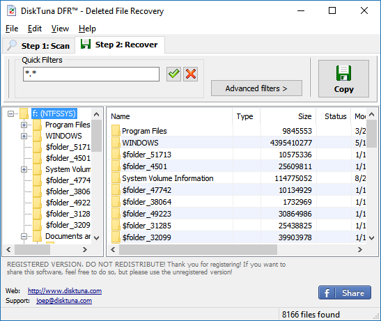 Undelete files using DiskTuna DFR - Deleted File Recovery