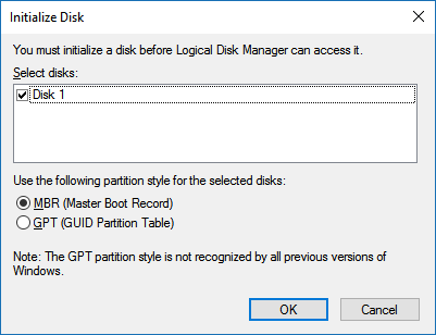 Disk Management prompts to initialize the disk
