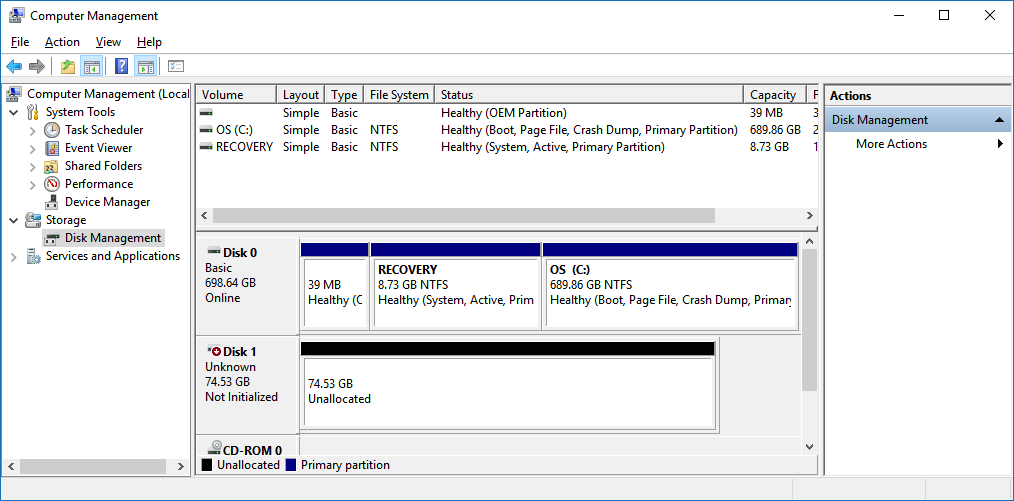 Disk management reveals the physical disk size as Windows sees it (Disk 0, Disk 1)