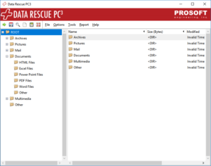 Result of the Data Rescue PC3 RAW recovery