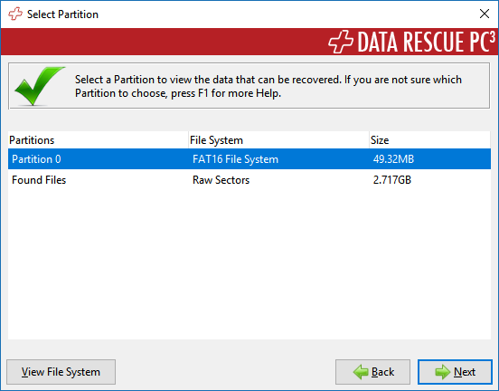 Data Rescue PC3 partition scan