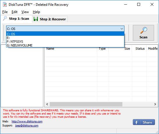 DiskTuna Deleted File Recovery - Specify the drive and click Scan