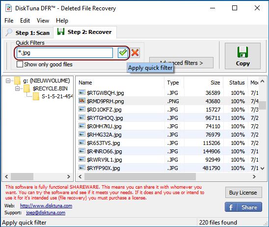 DiskTuna DFR, filtering makes finding files easier