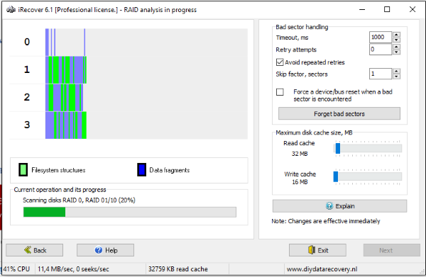 iRecover analyzing 4 disk RAID array - file recovery
