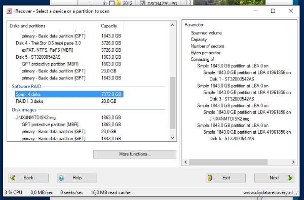 NAS Data Recovery - NAS volumes detected