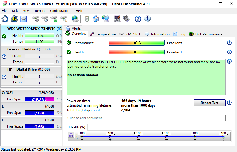 HD Sentinel disk health monitor - disk utilities