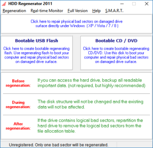 HDD Regenerator main Windows component
