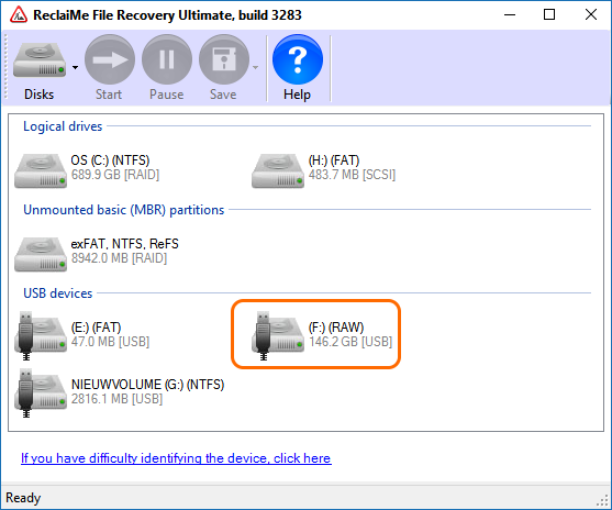 Volume does not contain a recognized file system - RAW File System