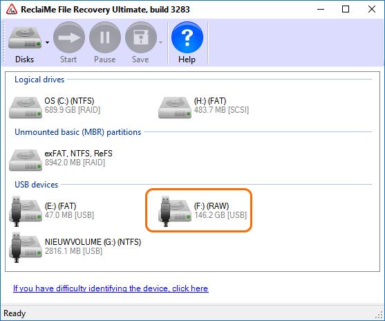 Gegevens redden van een externe RAW disk
