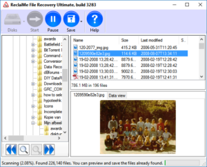Browse and preview files during the deleted partition scan