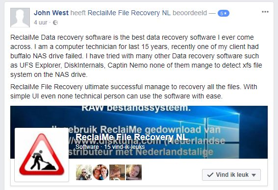 Professionals rely on ReclaiMe to recover data from NAS drives