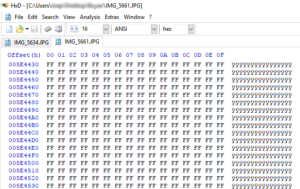 Check corrupt JPEG files using HxD. This corrupt JPEG is beyond repair.