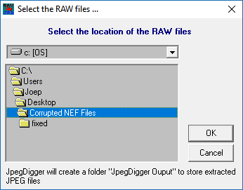Select location of the corrupt RAW files