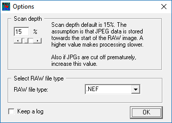 Select JepgDigger scan settings
