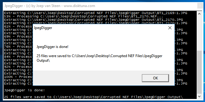 JpegDigger is done. It will open output folder after clicking OK