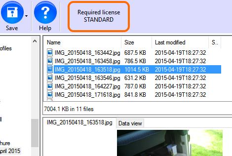 ReclaiMe toont benodigde licentie, Standard of Ultimate