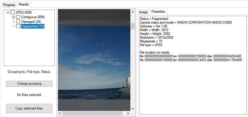 The software shows the different fragments that make up the JPEG file.