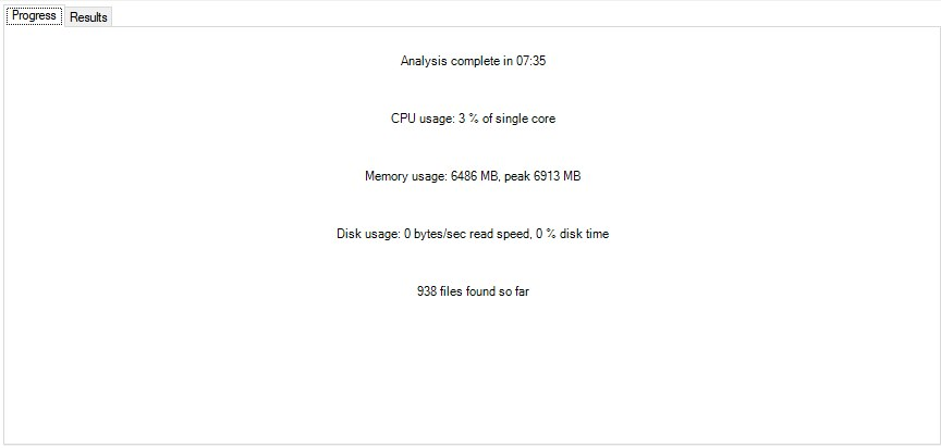 It took the software 7 hours to analyze the SD memory card! And it needed lots of memory too!