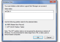 You must initialize the disk before Logical Disk Manager can access it