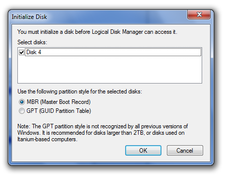 how to initialize a hard drive