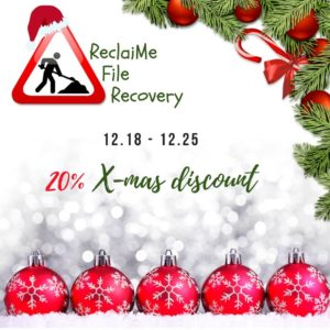 This weekend only, 20% discount on ReclaiMe File Recovery