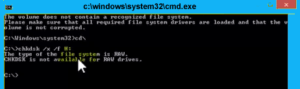 CHKDSK is not available for RAW drives. How to recover your data.