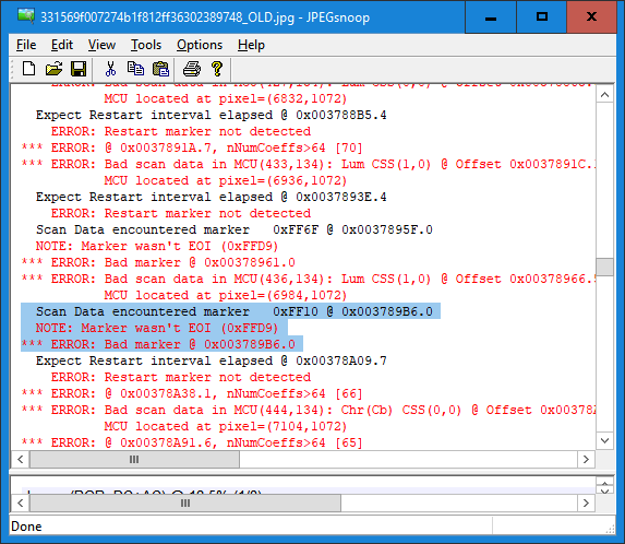 JPEGSnoop can help identify unknown or invalid jpeg markers in scan data