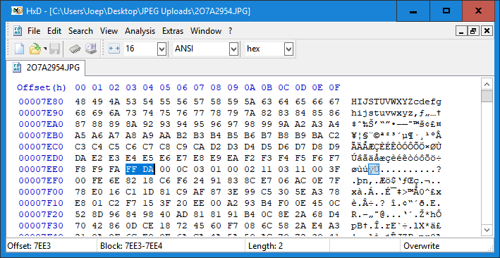 Examine corrupt JPG files using a binary or hex editor