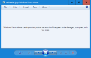 Windows Photo Viewer can't open this picture because the file appears to be damaged corrupted or is too large