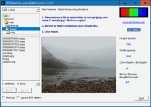 JPGRepair shows previews of repaired JPEGs
