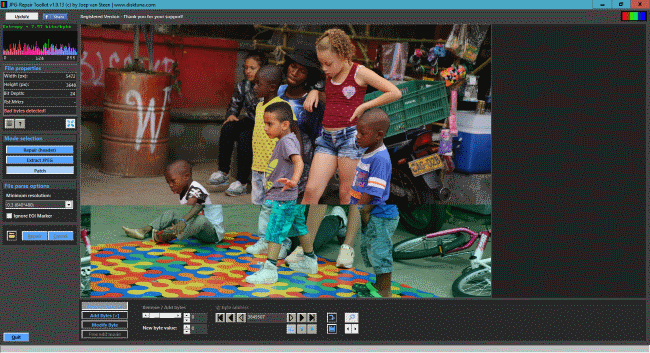 JPG-Repair Toolkit editor allows correction of color and shift errors in corrupted jpeg