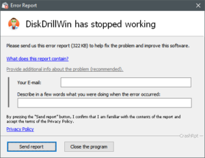 Disk Drill crash report