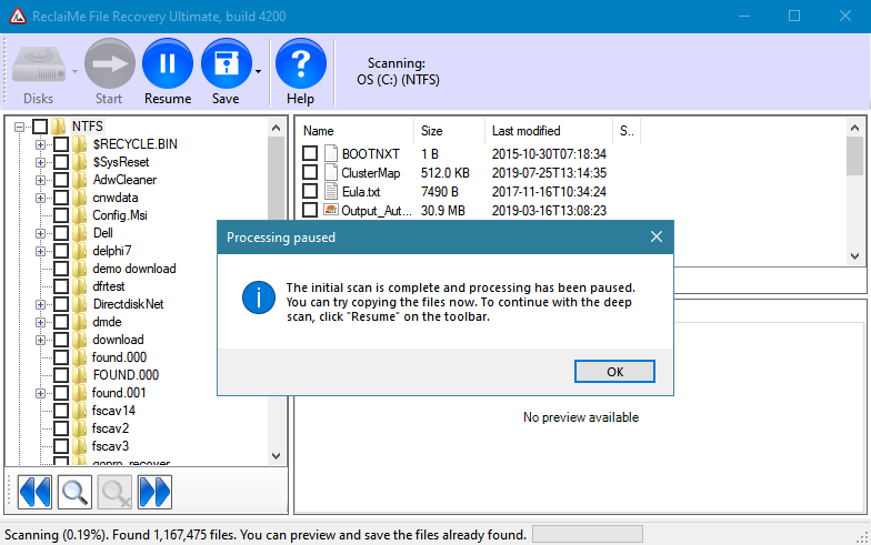 All-round data recovery. Scan finished in less than 2 minutes and detects over one million files!
