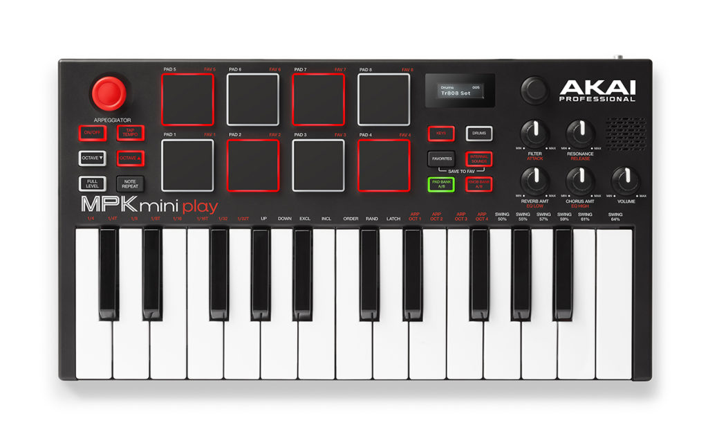 The AKAI MPK mini play MIDI keyboard
