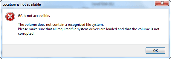 the volume does not contain a recognized file system, make sure all required file system drivers are loaded and that the volume is not corrupted