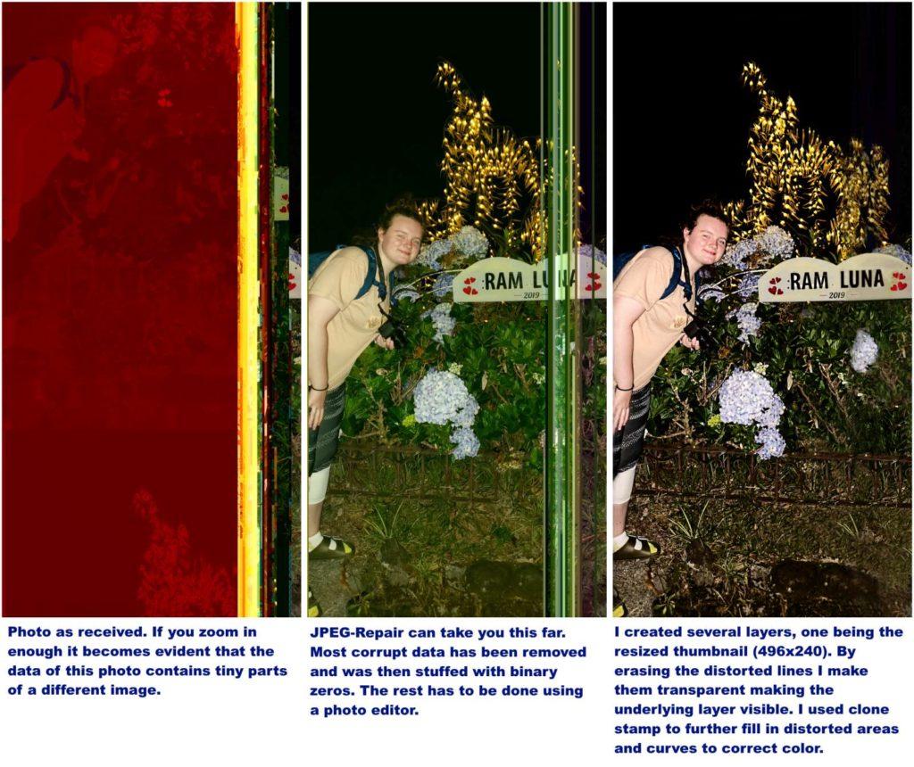 Corrupt JPEG repair in 3 steps.