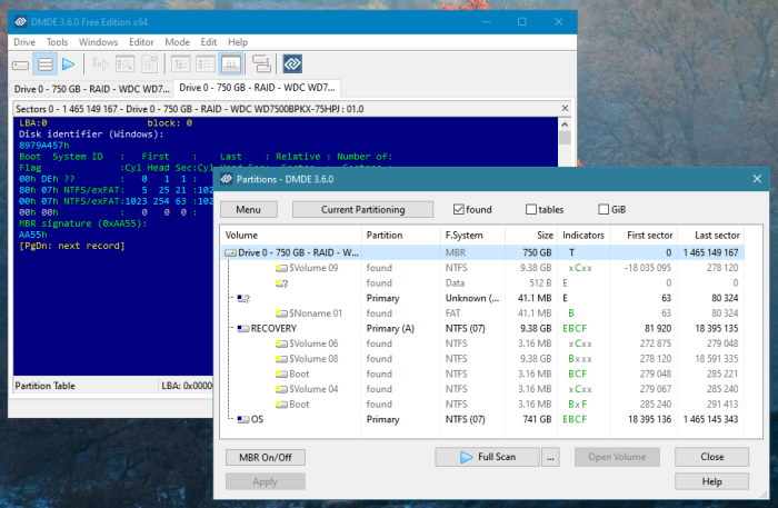 DMDE disk editor and data recovery