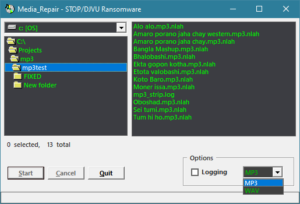 Media-Repair. Small repair tool for MP3 and WAV files affected by STOP/DJVU