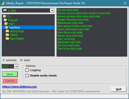 media_repair. repair corrupt mp3, wav, video affected by stop djvu ransomware