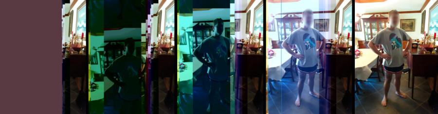 Verschillende stadia van herstel van een foto met bit errors die resulteren in een grijs vlak