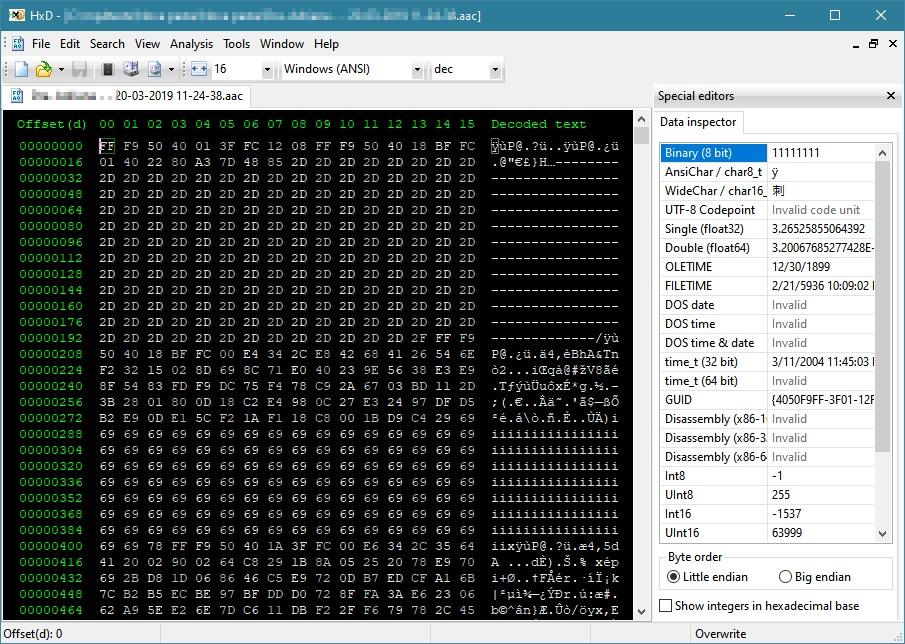 repairing .aac files using HxD