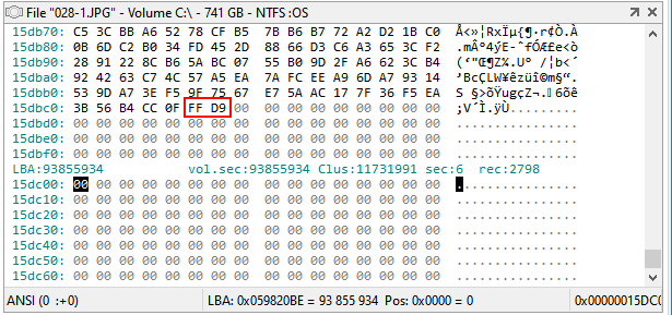 JPEG end of file marker observed directly on disk with hex editor