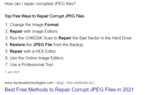 How can I repair corrupted JPEG files and Google Search