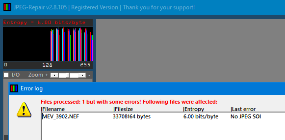 Low entropy data = no JPEG. No values < 128 = no JPEG.