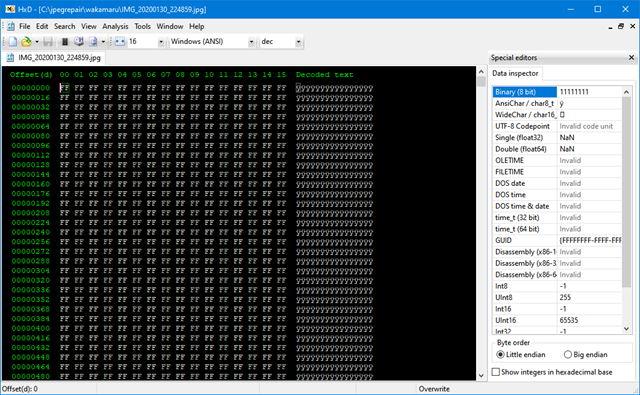 low entropy file = no jpeg data
