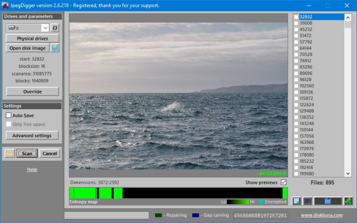 JPEG main screen