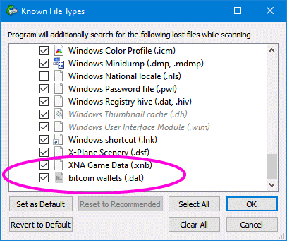 Check if bitcoin wallets is checked