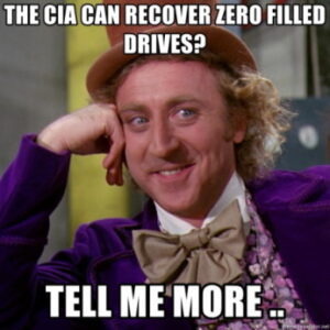 Can data be recovered from an erased or zero filled drive?